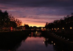 City by dawn. (dylanosahetapy02) Tags: dawn nofilter sunset sun city utrecht water purplesky busy