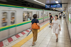 sendagi-4960-ps-w (pw-pix) Tags: station trainstation metro underground subway woman man boy women men people waiting moving walking standing signs information platform lines markings tactiles lights tiles grey brown black white blue yellow green silver red orange beige sendagistation chiyodaline sendagi bunkyoku tokyo tokyoto japan peterwilliams pwpix wwwpwpixstudio pwpixstudio