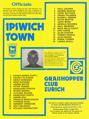Ipswich Town vs Grasshoppers Zurich - 1979 - Back Cover Page (The Sky Strikers) Tags: ipswich town grasshopper club zurich grasshoppers uefa cup portman road official match day magazine 25p