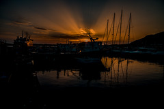 Harbour sunset.... (Dafydd Penguin) Tags: sun set sunset orange sky clouds ship vessel boat yacht ferry harbour harbor port dock quay water sea harbourside waterside mediterranean bay naples italy pozzuoli leica m10 elmarit 21mm f28