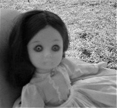 Expression of a pissed off haunted doll (Twila1313) Tags: doll haunted pissedoff angry spirit cursed demonic scary creepy eyes stare glare evileye olddoll infrared canonpowershotsd790is monochrome possessed spiritvessel