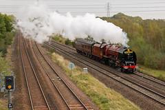 "LMS Princess Coronation Class 4-6-2 - 6233 ""Duchess of Sutherland"" (The_Anorak) Tags: 6233 duchessofsutherland lms princesscoronationclass williamstanier 462 creweworks londonmidlandandscottish steam locomotive british rail railways express passenger 5z82 midlandrailwaybutterley swanage stock move northstaffordjunction northstaffsjunction willington derbyshire england unitedkingdom uk greatbritain gb 11th october 2018 kettle"