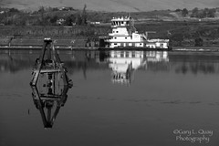 Barge Passing The Dalles, Oregon (Gary L. Quay) Tags: tugbiat barge thedalles oregon refelction columbiarivergorge columbiariver columbiagorge columbia river gorge boat commerce nikon transportation tidewater granitepoint garyquay