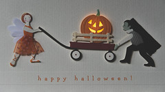 happy halloween! (HW111) Tags: dracula halloween happyhalloween macromondays october31 pier1imports trickortreat fairy greetingcard jackolantern pumpkin wagon glow 2dwf twotogether handmade costume