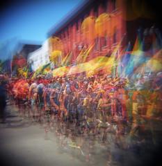 There goes the cavalcade (Zeb Andrews) Tags: holga kodakektar portland oregon filmphotography pdx prideparade zaahphoto colorfilm mediumformat pacificnorthwest multipleexposures