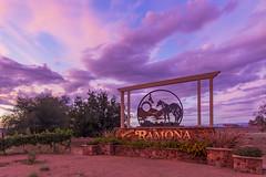 Ramona Sign Under a Periwinkle Sky at Sunset (slworking2) Tags: ramona california unitedstates us periwinkle sky sunset sign horse hawk purple clouds sandiego sandiegocounty rural