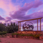 Ramona Sign Under a Periwinkle Sky at Sunset thumbnail