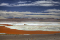 Mineral Lake (Joost10000) Tags: lake colorada laguna lagunacolorada altiplano minerals highlands andes bolivia wild wilderness desert desierto outdoors nature natur landschaft south america southamerica red orange colour mountains sky clouds canon canon5d eos scenic beauty