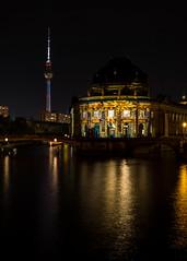 Bodemuseum, Museumsinsel (justahero) Tags: berlin bodemuseum night nightphotography festivaloflights river reflection fernsehturm museum spree projection autumn