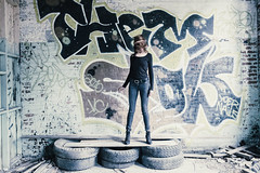 Spin (mulveyraa2) Tags: abandoned breanadevey exported fashion grunge manchester model people urbex decay teen tight redhead woman long hair sexy cute spin inked tattoo pants beauty petite fitness