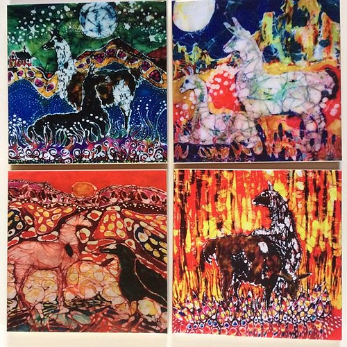 Llama trivets in my Etsy shop link in my profile #Batik #art #llamatiles #ceramictrivets #gift #amityfarmbatik