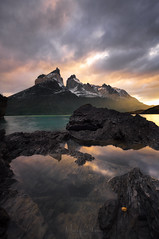 Chaos dawning (Maddog Murph) Tags: cuernos torres del paine chile mountains lake sunrise reflection water fall autumn show cloudy stormy misty light gap sun rays beautiful travel explore