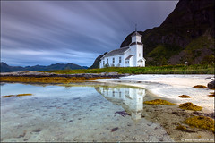 Gimsøy Church (Stefan Bock) Tags: lofoten norway norwegen landscape landschaft travel reise natur nature nopeople traveldestinations beautyinnature gimsøy church gimsøychurch water wasser strand beach reflection mirror spiegelung spiegel mountain gimsoy