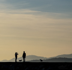 Woman, Man, and Dogs (Photo Alan) Tags: vancouver canada landscape candid people mountain dogs dog pet cloud clouds sky leica