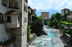 ° The stream (° Ivan) Tags: chiavenna sondrio valchiavenna lombardia lombardy italia italy landscape village town mountain mountains old torrent river creek nature summer north trees water bridge sky clouds valley