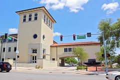 Lakeland Police Department Building (StevenM_61) Tags: architecture governmentbuilding policestation mediterraneanrevival street pavement stoplight trees lakeland florida unitedstates