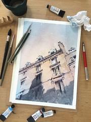Afternoon light in Paris (alexhillkurtzart) Tags: watercolor paris