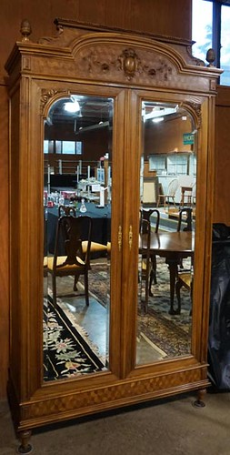 Fine contemporary walnut marqueted armoire with 2 mirrored doors ($560.00)