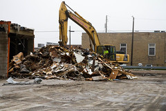 Demolition (Lester Public Library) Tags: suettingerhardwaredemolition demolition construction demo tworiverswisconsin tworivers downtown downtowntworivers debris equipment buildings wisconsin lesterpubliclibrarytworiverswisconsin readdiscoverconnectenrich