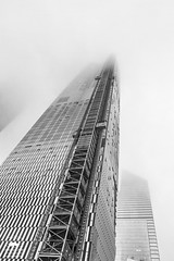 Low Clouds (allentimothy1947) Tags: highline newyorkstate architecture cloudy newyorkcity rain 8138 high line new york state construction highrise skyscraper elevator hudson yarks manhattan fog low clouds obscured city building bw black white manhhatan obscure