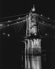 John A Roebling Suspension Bridge web (1 of 4) (rjskwctm78) Tags: longexposurephotography longexposure 4x5 largeformat film bw blackandwhite water river bridge night