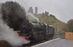 Visiting Locomotive, Black 5 No.44871 sits at Corfe Castle on a wet morning, about to enter into the siding to await its next move. Autumn Steam Gala Swanage Railway. 14 10 2018 (pnb511) Tags: swanagerailway train rails railway loco locomotive steam track trees signal castle ruins station platform corfecastle