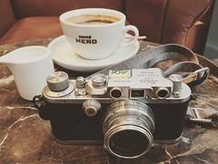Quick coffee stop then shooting with the little Leica iiib + Summar 50mm on Tri-X. (I_Waste_Film) Tags: leica iii iiib camera porn barnack nero coffee removedfromishootfilmforpostingdigitaltothepool