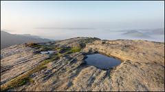 The puddles and the mist (G. Postlethwaite esq.) Tags: curbaredge derbyshire fog grass landscape mist outdoor photoborder puddles rocks sky sunrise temperatureinversion valley water