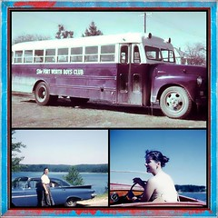 Vehicles from the past (MoparMadman63) Tags: collage frame transportation bus car vehicle boat vintage oldphotographs past 1960s 35mm bluecar water lake driver driving mother