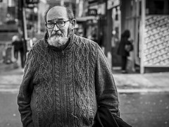 The Winter Woollies (Leanne Boulton) Tags: portrait urban street candid portraiture streetphotography candidstreetphotography candidportrait streetportrait eyecontact candideyecontact streetlife old elderly man male face eyes expression mood feeling beard sweater jumper pullover comfy warm winter weather style tone texture detail depthoffield bokeh naturallight outdoor light shade city scene human life living humanity society culture lifestyle people canon canon5dmkiii 70mm ef2470mmf28liiusm black white blackwhite bw mono blackandwhite monochrome glasgow scotland uk