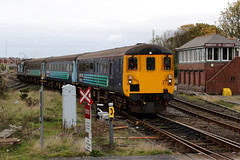 9704 and 37425 'Concrete Bob-Sir Robert McAlpine' 5C33 1517 Barrow C.S. to Barrow-in-Furness 10-2018 (Cumberland Patriot) Tags: arriva northern trains drs direct rail services carlisle kd kingmoor tmd traction maintenance depot cumbria ee english electric 12cvst diesel engine type three class 37 374 37425 37292 6992 d6992 sir robert mcalpine concrete bob dieselelectric locomotive loco motive power 2c33 passenger paytrain train cumbrian coast railway line barrow in furness carriage sidings station platform mk2 mark two driving brake second open dbso 9704 track railroad