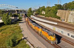 "Westbound Transfer in Kansas City, MO (""Righteous"" Grant G.) Tags: up union pacific railroad railway locomotive train trains west westbound transfer freight emd power ge engine kansas city missouri yard job"
