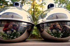Two Self-Portraits in Two Chrome Oil Lamps (ricko) Tags: two oillamps selfportrait reflection chrome werehere 270365 2018