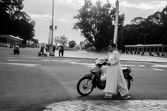 Biker in White (solas53) Tags: bw blackwhite blackandwhite monochrome vietnam street scooter tay ninh tayninh moped people person