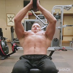 upper pec press (ddman_70) Tags: shirtless pecs abs muscle gym workout chest sweatpants treasuretrail lifting