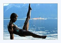 Li Ning and La Suisse (overthemoon) Tags: switzerland suisse schweiz svizzera romandie vaud montreux quai lake léman sculpture lining boat steamboat lasuisse mountains blue evening gymnastics sébastien gouezigoux sébastiengouezigoux