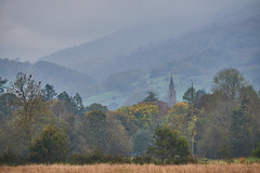 Passing Rain (scottprice16) Tags: england cumbria landscape october 2018 autumn ambleside church spire stmaryschurch trees hills fells outdoors weather storm rain wind colour muted mist cloud view fuji fujixt1 18135mm