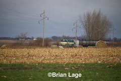 IARR3802,3004 (eslade4) Tags: iarr iowariverrailroad ackley iarr3802 gp38 iarr3004 gp30 exiac exmstl excnw exarzc coveredhopper tankcars cloudy cornstalks bales