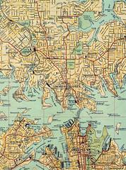 Circa 1928 - Sydney CBD & Northern Suburbs Wall Map, Sydney, New South Wales, Australia (aussiejeff) Tags: vintage antique map sydney maas museumofappliedartssciences jeffc aussiejeff 1928 restore