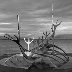 Sun Voyager (OzzRod (catching up)) Tags: pentax k1 hdpentaxdfa2470mmf28 sunvoyager art sculpture stainlesssteel monochrome blackandwhite waterfront reykjavik iceland