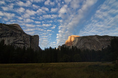 Sunset On Half Dome 5685 (casch52) Tags: sunset california yosemite nature dome travel park mountain half landscape usa sky national valley granite view rock orange tourism america peak point outdoors trees beautiful cliff forest sierra blue beauty nevada landmark background green summer evening falls dusk light outdoor mountains twilight river scenic wilderness hiking halfdome red awe inspiring clouds reflection natural
