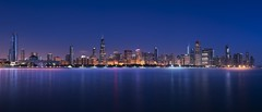 Chicago Bluehour Sunrise (Bereno DMD) Tags: 219 widescreen wide longshutter longexposure panoramic pan sigma 50mm windycity windy midwest d850 nikon view sky lights buildings skyline city soft glow mood foggy misty mist fog blue bluehour sunrise planetarium chicago lake illinois night beach 14 art sigma50mm14art