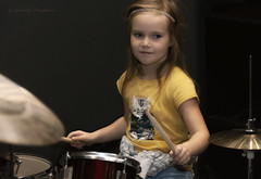 Little Drummer (Lyutik966) Tags: children girl drum plate copper music rhythm exhibition moscow namm2018 crocusexpo sokolniki russia portraitsshots