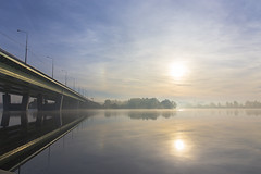 landscape in pastel colors (Oleg Peresvet) Tags: canon 6d 24704 2470mm f4 l is bridge moscow river morning fog