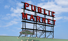 Pike Place Market (Anthony Mark Images) Tags: sign neonssigns greentinroof cityfishmarket publicmarket pikeplacemarket seattle washington washingtonstate usa fish art bluesky clouds nikon d850 famous homeofstarbuckscoffee starbuckscoffee starbucksorigin