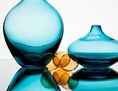 Orange & Blue (Karen_Chappell) Tags: orange blue white glass balls circle round stilllife vase shape shapes abstract reflection curve