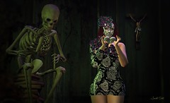 Happy Halloween (Sannita_Cortes) Tags: byrne glamaffair halloween ikon irrisistibleshop lepoppycock lelutka maitreya swank truth dressoutfits fashion female headaccessorie headpiece mask poses posesprops secondlife sl styles virtualworld virtual virtualfashion