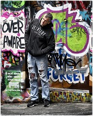 Over Aware (gro57074@bigpond.net.au) Tags: color colour artseries f40 105mmf14 sigma d850 nikon man street alleyway graffiti melbourne streetphotography candidstreet candid