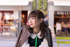 Young woman taking a break at outdoor cafe (Apricot Cafe) Tags: img110510 asia asianandindianethnicities cafe japan japaneseethnicity shibuyaward sigma35mmf14dghsmart tokyojapan autumn break capitalcities carefree casualclothing charming citylife colorimage day elegance enjoyment foodanddrink happiness leisureactivity lifestyles lookingaway oneperson oneyoungwomanonly outdoors people photography portrait realpeople restaurant sitting smiling store street student sustainablelifestyle universitystudent waistup women youngadult