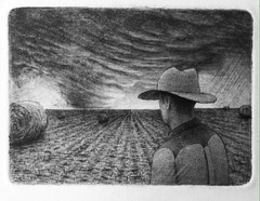 Tornado over our Field (Ala(i)n Marcus) Tags: etching intaglio drawing sketch ink printmaking aquatint cowboy farmer hay haybales bales tornado field ruralism ruralist figurativeart figurative art contemporaryart